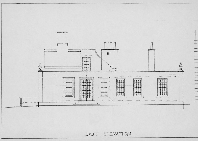 Eigg Lodge, digital image of drawing of E elevation.
