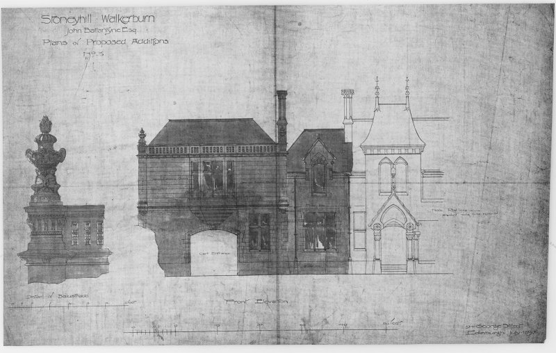 House in the grounds of Stoneyhill for J K Ballantyne. Plans of proposed additions showing detail of balustrade and front elevation. Scanned image of E 21284 P.