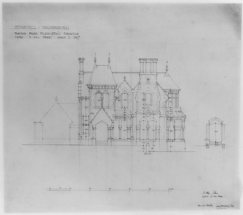 House in the grounds of Stoneyhill for J K Ballantyne. 'Tracing from Pilkington's drawing dated 2 Hill Street, March 3 1867'. Scanned image of E 21285 P.