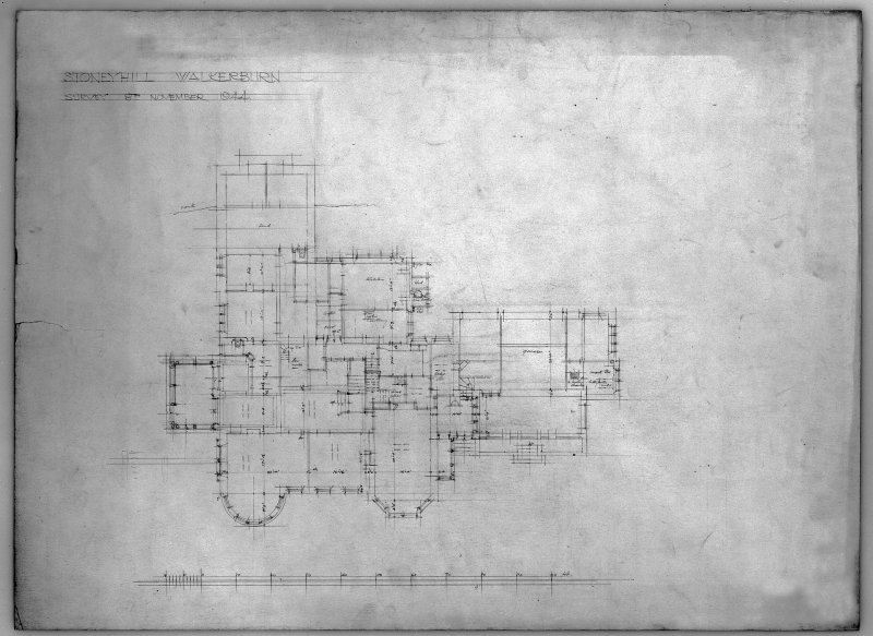 House in the grounds of Stoneyhill for J K Ballantyne. Survey plan. Scanned image of E 21287 P.