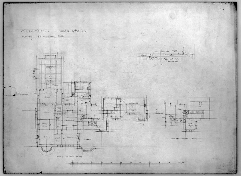 House in the grounds of Stoneyhill for J K Ballantyne, plan of first and second floor. Scanned image of E 21286 P.