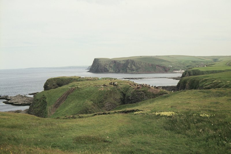 Copy of colour slide showing distant view of Castle Point, Cullykhan,Troup, Banffshire NMRS Survey of Private Collection Digital Image only