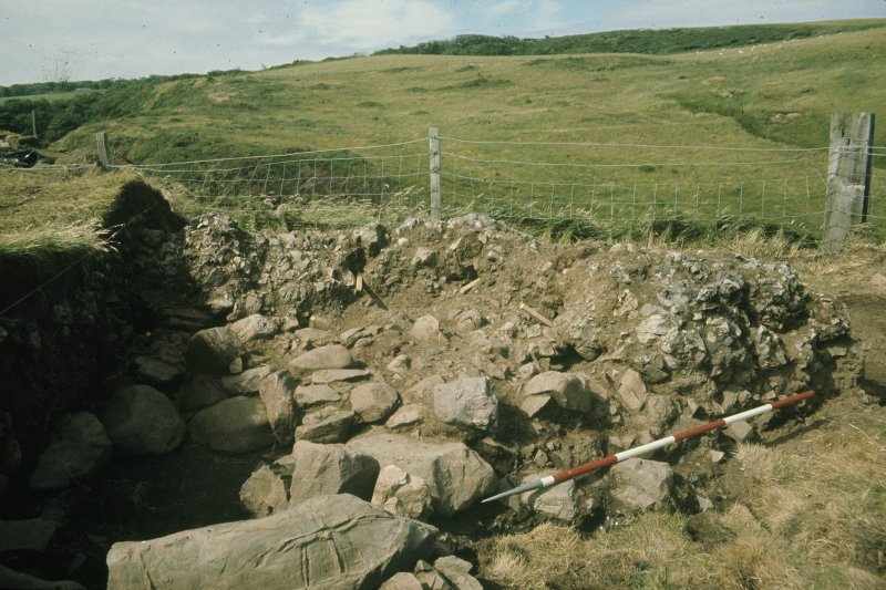 Copy of colour slide showing detail of excavations at Cullykhan, Castle Point, Troup, Banffshire  NMRS Survey of Private Collection Digital Image only