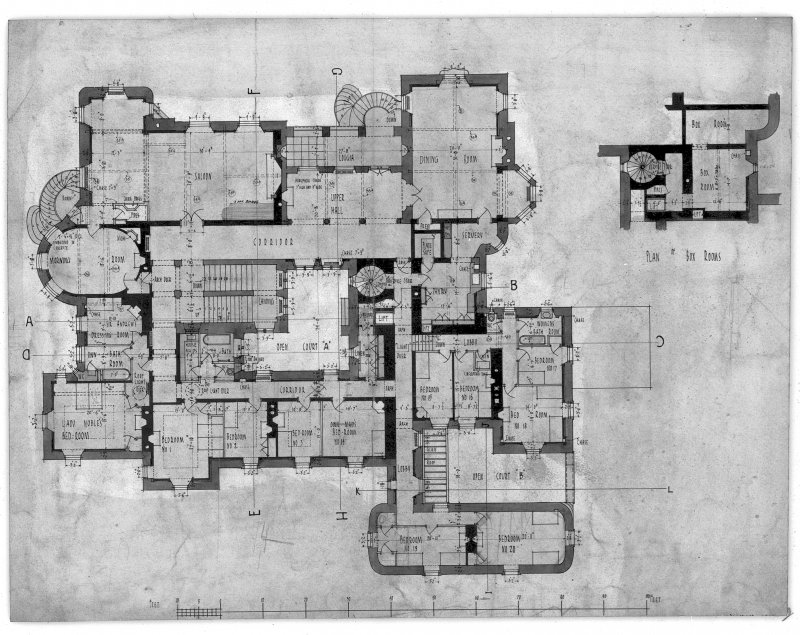 "Principal floor plan, with measurements. Ink and wash. Scale 1/8"". Scanned image of AGD 41/25 P."