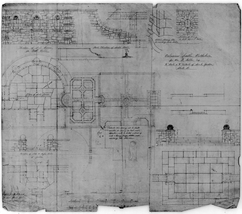 Balmanno Castle. Photographic copy of plan and details of garden. Scanned image of PTD 32/29 P.