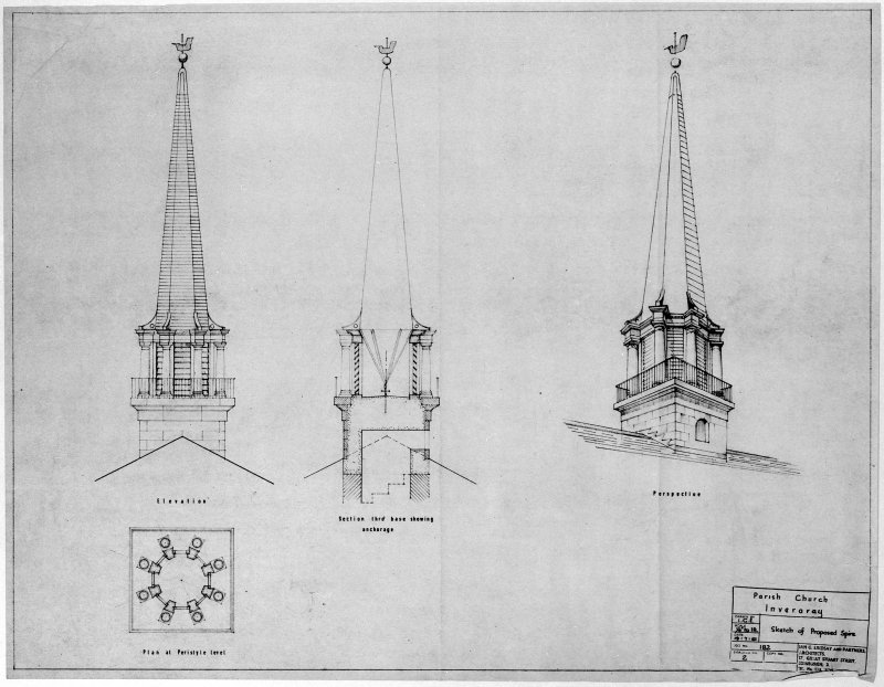Sections, elevations and perspective of proposed spire. Scanned image of E 21187.