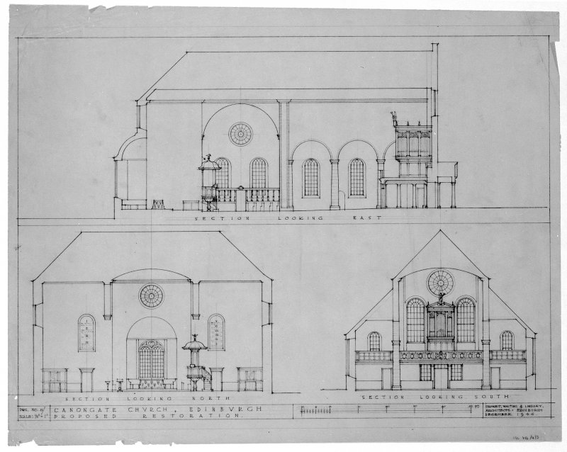 Sections showing restoration of Canongate Parish Church.