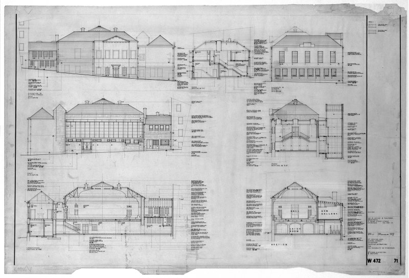Sections and elevations showing alterations. Scanned image of E 21175.