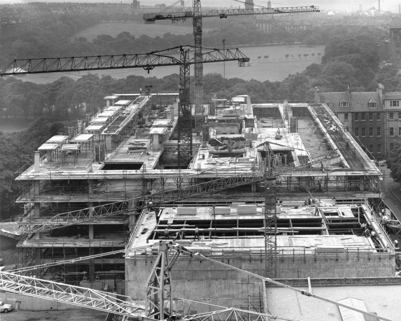 Photographic view of University of Edinburgh Main library under construction. Scanned image of D 65287.