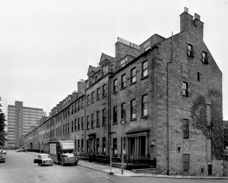 The south side buildings on George Square, Edinburgh before demolition. Now the site of the University of Edinburgh library.