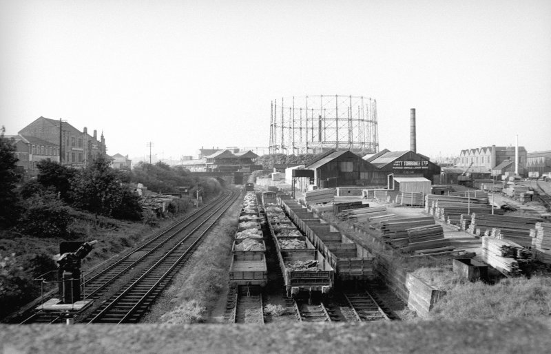 General view looking NNE showing sawmills with gasholder in background
