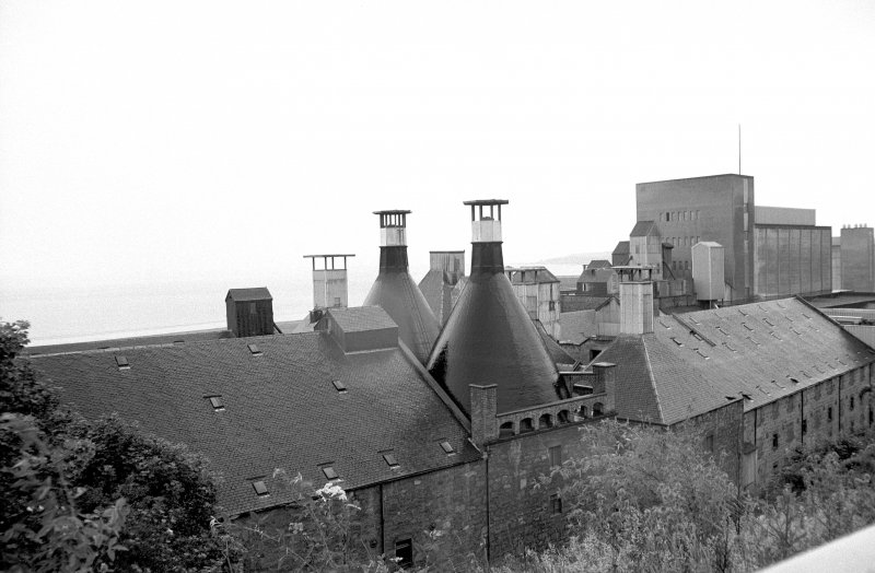 View from NE showing kiln vents and blocks of Ravenscraig Maltings