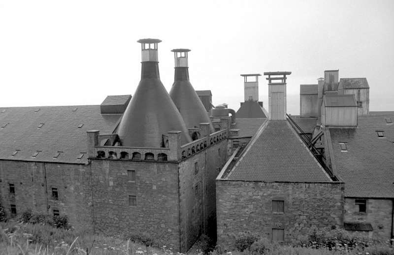 View from NW showing kiln vents of Ravenscraig Maltings