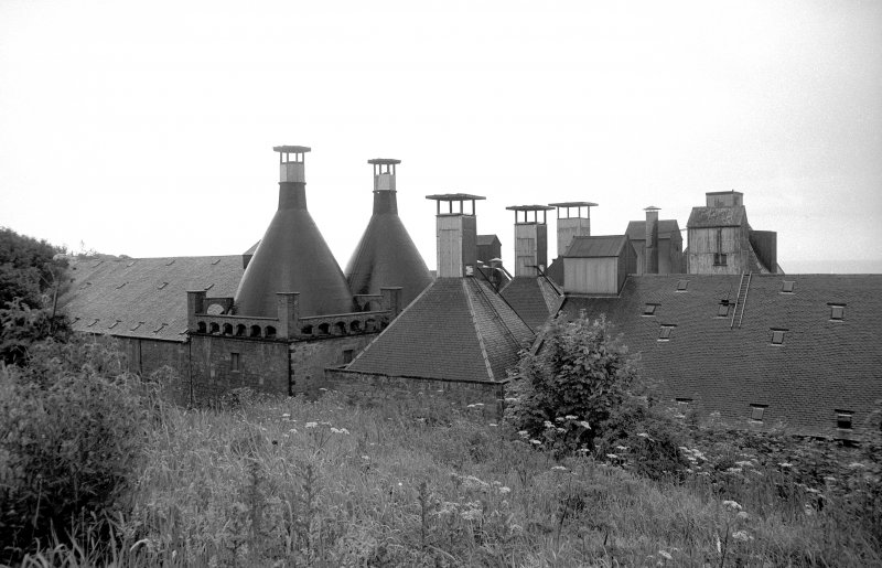 View from WNW showing kiln vents of Ravenscraig Maltings