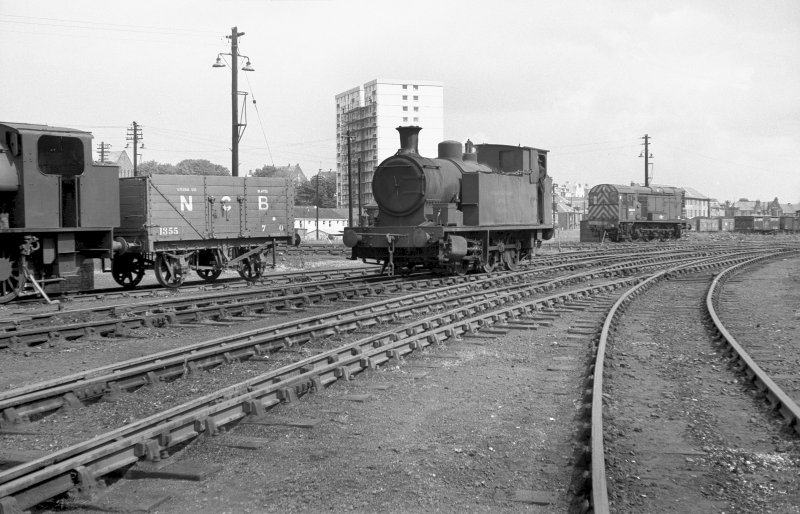View looking NE showing NCB Fife Area locomotive number 10 with diesel in background and part of Wemyss Private Railway locomotive number 16 on left