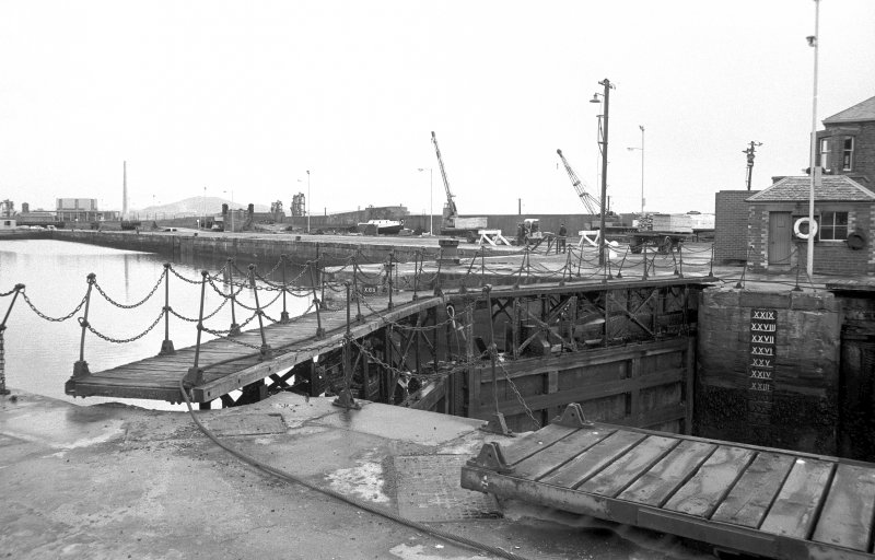 View from W showing top and part of SSW front of dock gate for number 2 dock