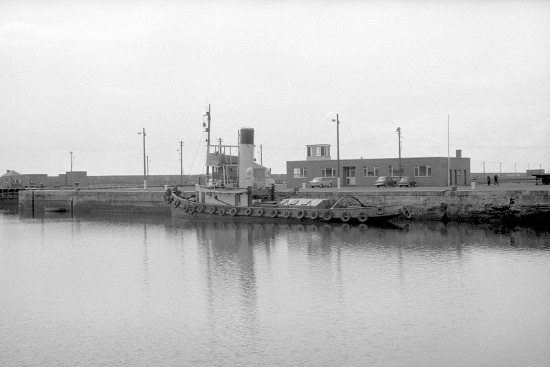 General view from N showing tug 'Dundas' in number 3 dock
