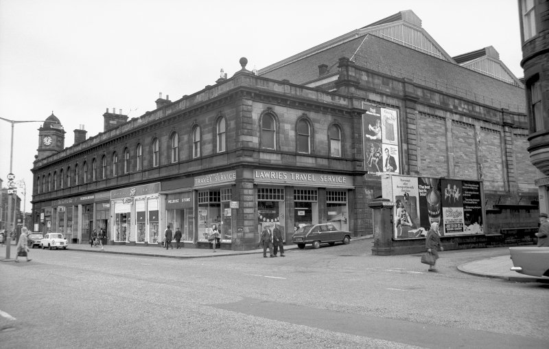 View from SW showing WNW and SSW fronts of numbers 3-23 Leith Walk with part of main block of station in background