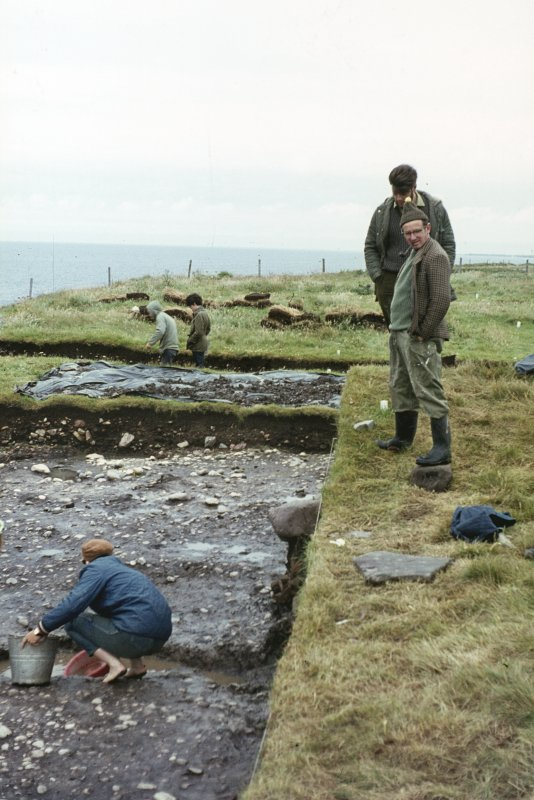 Copy of colour slide showing detail of excavations  Cullykhan, Castle Point, Troup, Banffshire - site inspection? NMRS Survey of Private Collection Digital Image only