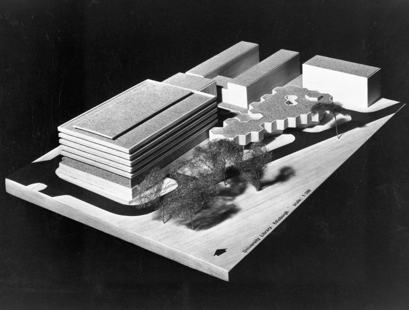 Photographic view of daylight study model of library and surrounding buildings. Scanned image of E 21400.