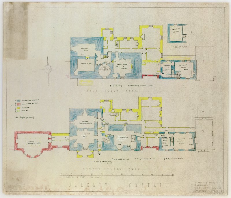 Scanned image of drawing showing plan of ground and first floor.