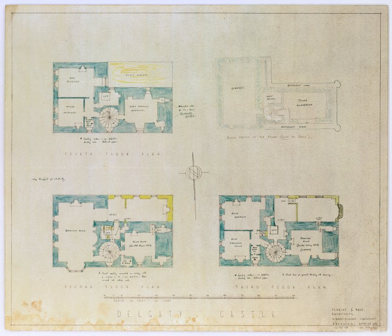 Scanned image of drawing showing fourth, top, second and third floor plans.