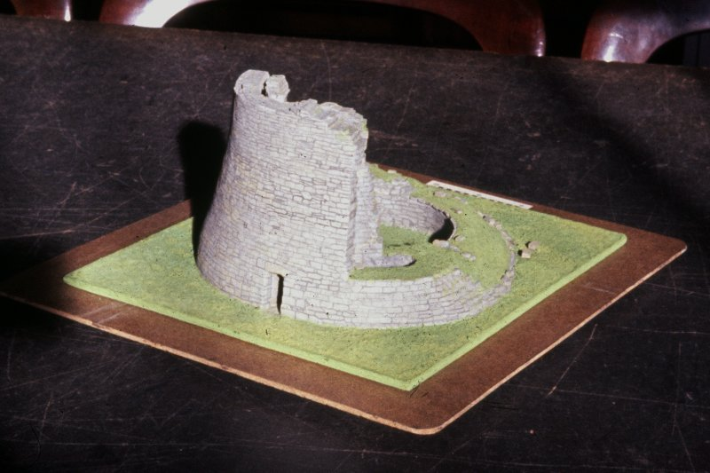 Copy of colour slide showing cut away model of Broch at Dun Telve Inverness; model in Paisley Museum NMRS Survey of Private Collection Digital Image only
