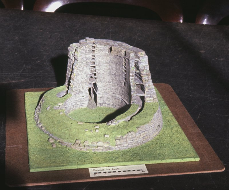 Copy of colour slide showing cut away model of Broch at Dun Telve Inverness, showing interior,galleries and scarcements; model in Paisley Museum NMRS Survey of Private Collection Digital Image only