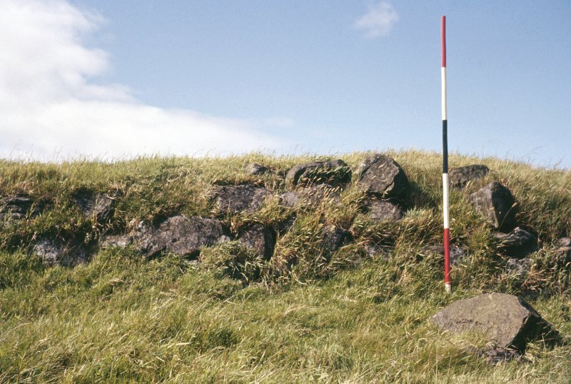 Copy of colour slide showing detail of Duncarnock Hill Fort, Renfrewshire; detail of main wall on west side nearer trig point NMRS Survey of Private Collection Digital Image only