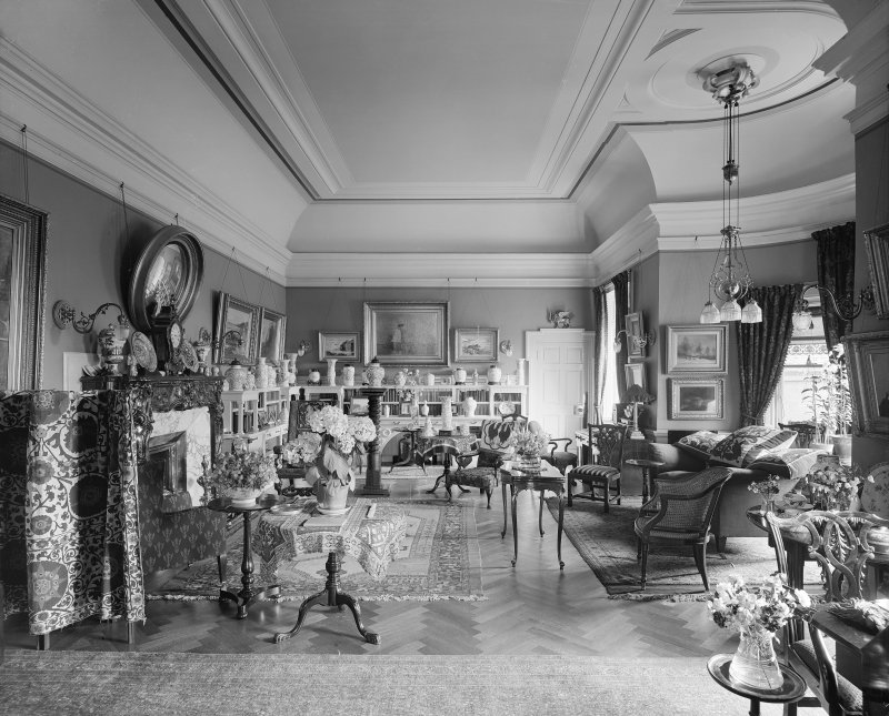 Interior-general view of Sitting Room showing collection of porcelain