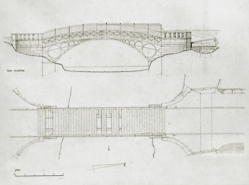 Photographic copy of drawing. Elevation and plan of Linlathen East Bridge.