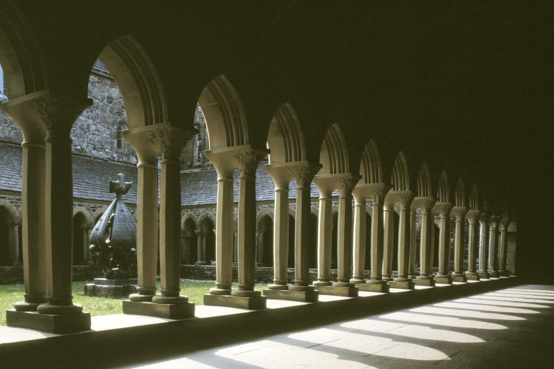 Iona, Iona Abbey, interior. View of West cloister with sculpture.