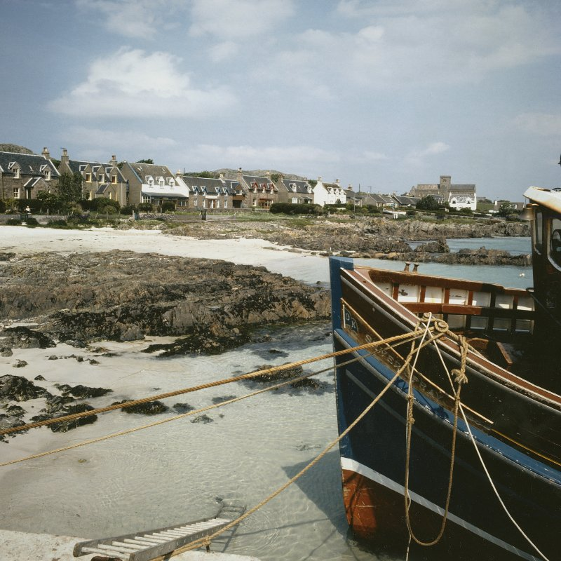Iona, Baile Mor Street, general. General view from jetty showing Abbey.