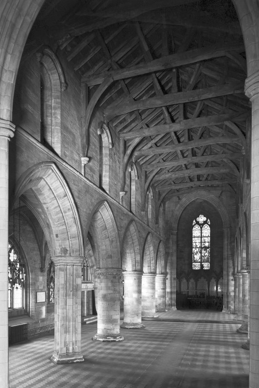 View of S nave arcade of Church of the Holy Rude, Stirling, from E.