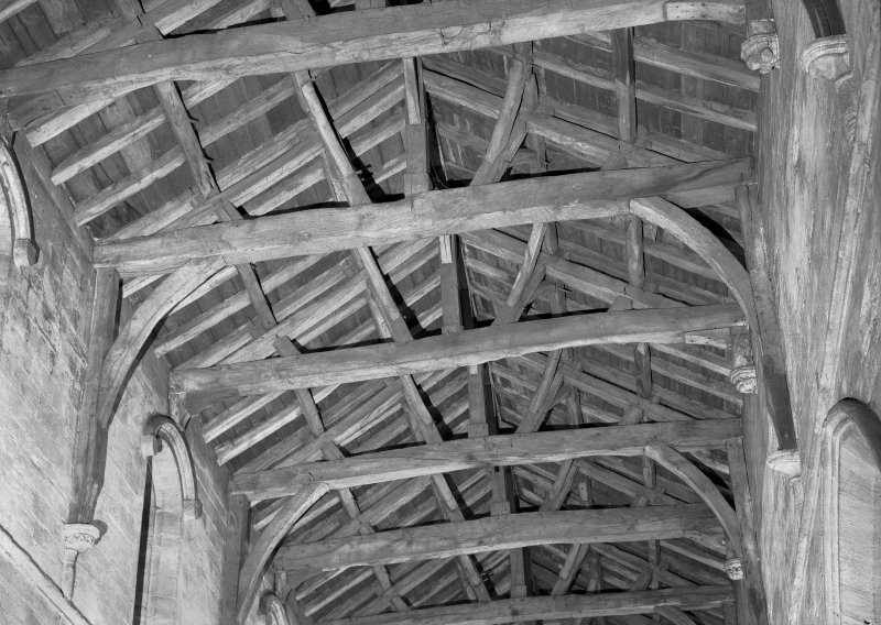 View of the timber roof of nave, Church of the Holy Rude, Stirling.