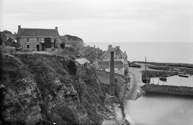Crail, Shoregate, Gasworks and Harbour. View from west.