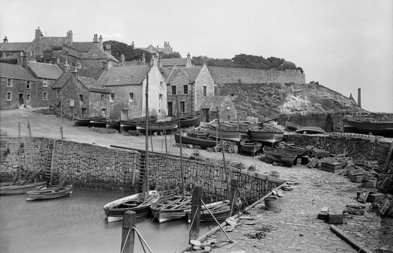 Crail. View from south west of Harbour and Shoregate.
