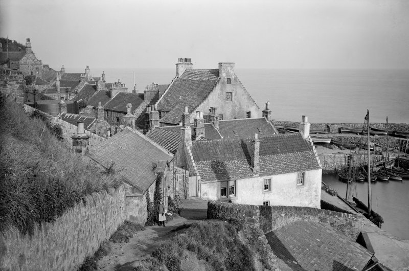 Crail. View from west of harbour and rear of houses on Shoregate.