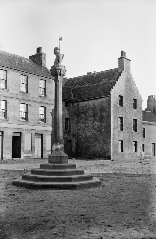 Crail. View of Mercat Cross and south side of Marketgate.