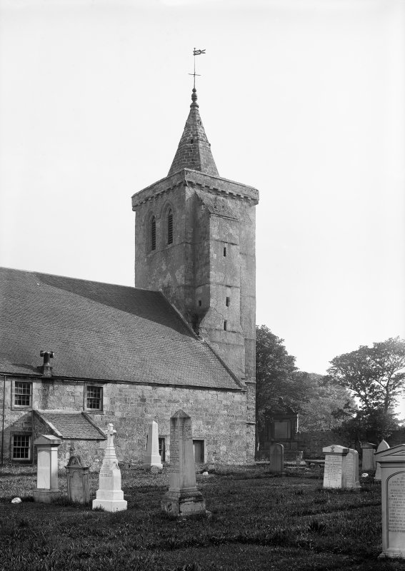 Crail, Parish Church. View from north of Church and churchyard.