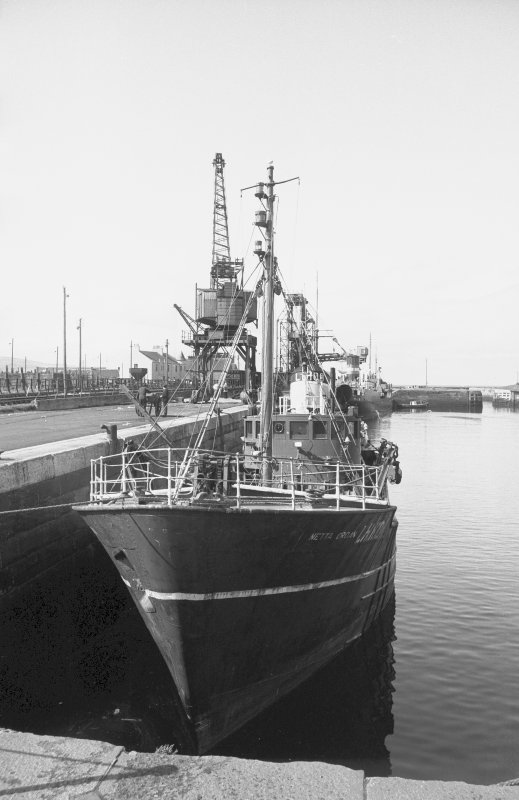 View from ENE showing trawler in dock