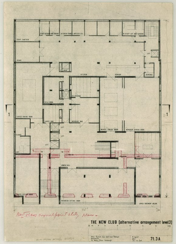 Plan showing original and proposed building. Scanned image of E 26248 CN.