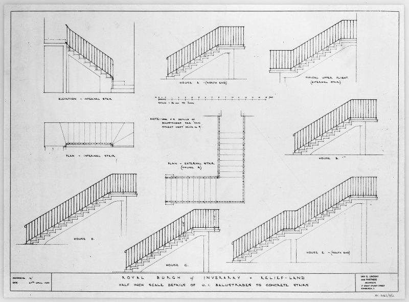Details of wrought iron ballustrades to concrete stair. Scanned image of E 26234.