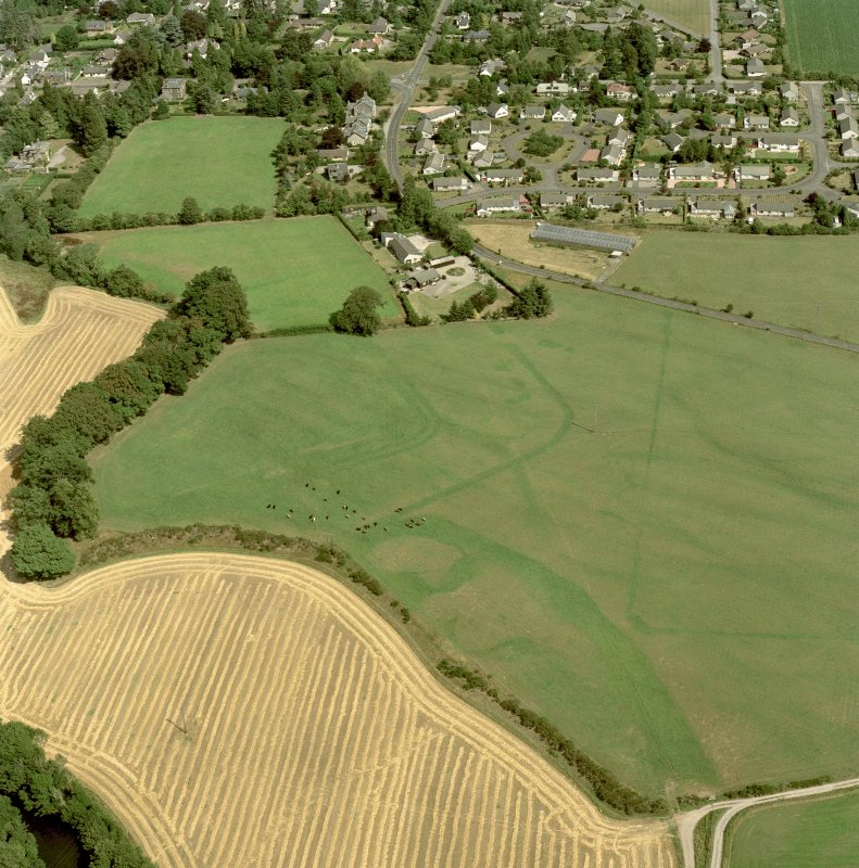 Dalginross, oblique aerial view, centred on the cropmarks of the Roman Temporary Camp and Fort. Digital image of C/52992/CN.