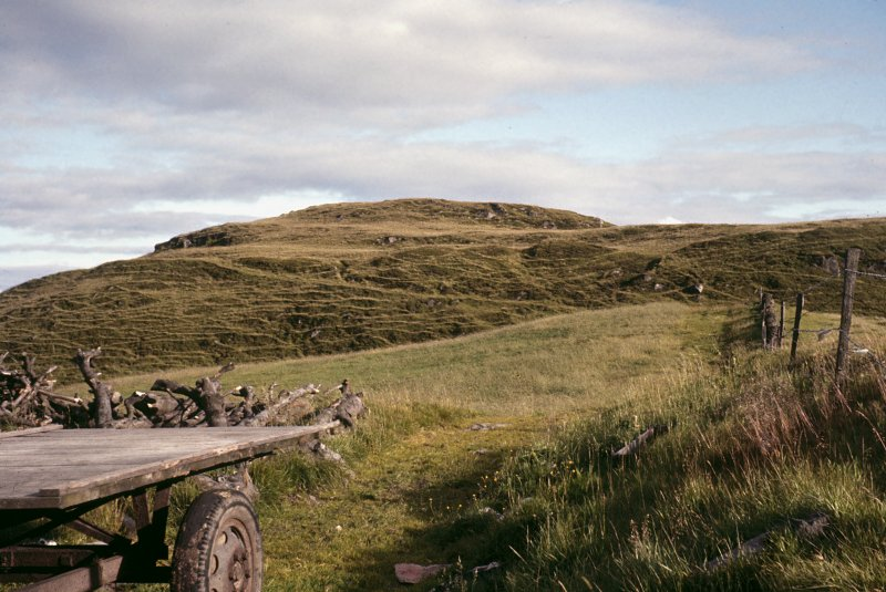 Copy of colour slide showing distant view of Walls Hill Fort, Renfrewshire from Walls Farm - original entrance slopes steeply up to right NMRS Survey of Private Collection Digital Image only