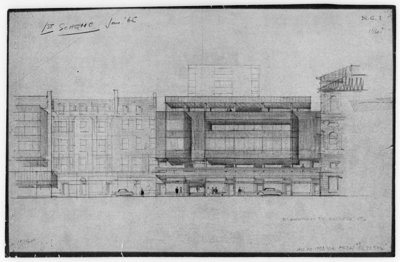 Elevation to Princes Street. Titled: '1st Scheme.' Insc: 'N.C. 1.'