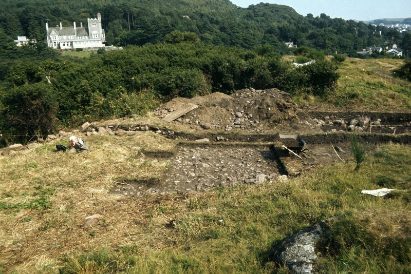 Copy of colour slide showing detail of vitrified fort, Mote of Mark, Kirkcudbright - general view of excavations from west NMRS Survey of Private Collection Digital Image only