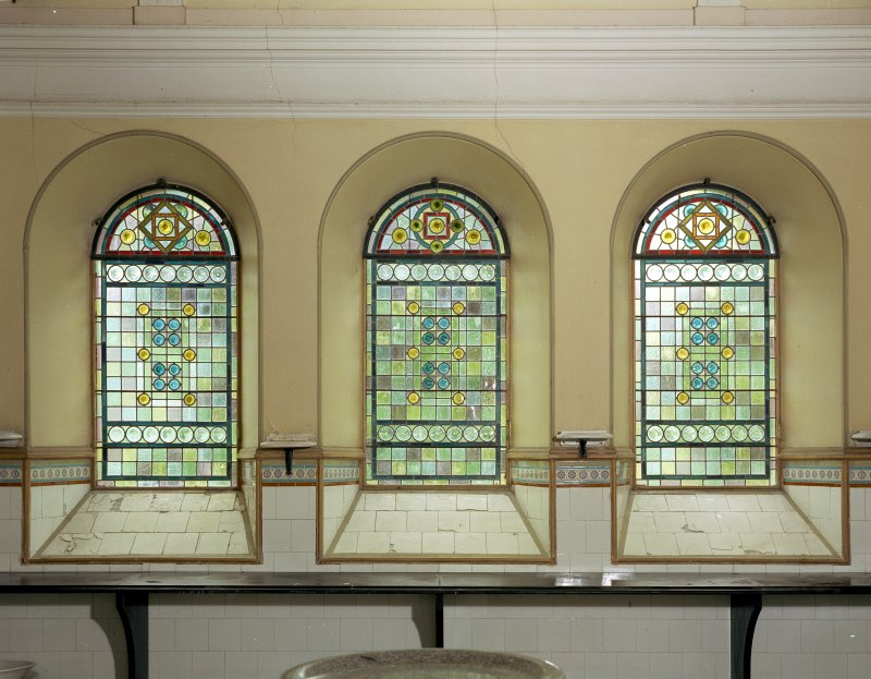 Interior view of stained glass windows in north west wall of dairy Digital image of IN 1620 CN
