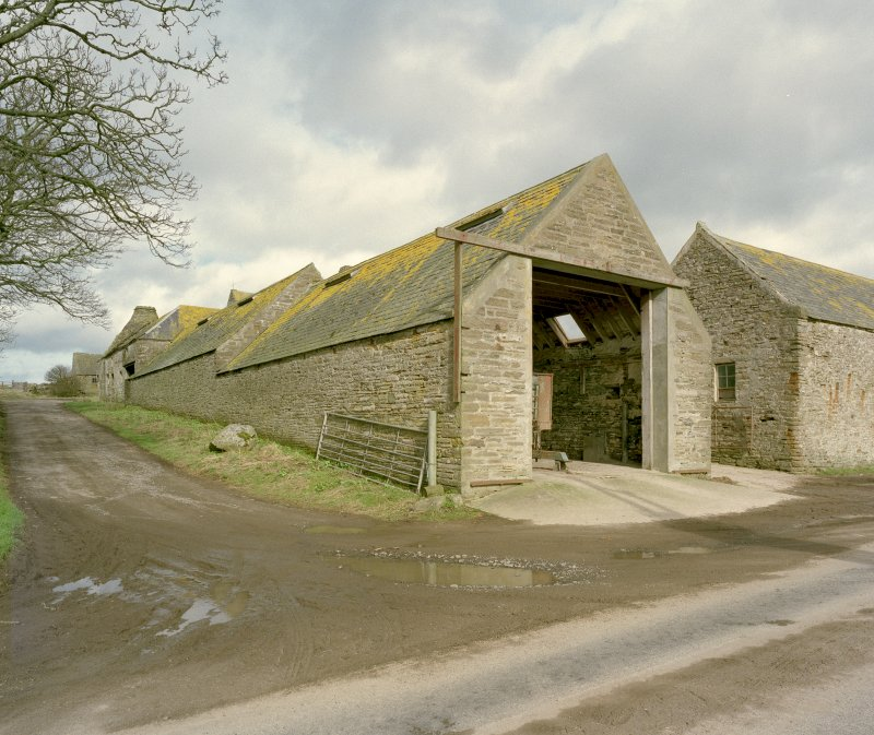 Oblique view of West range of steading from South West. Digital image of D 23934 CN