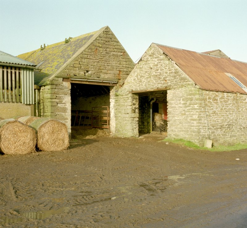 View of entrances to cattle court and adjacent shed from South West. Digital image of D 23948 CN